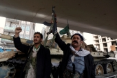 Houthi fighters react after Yemen's former president, Ali Abdullah Saleh, was killed, in Sanaa, Yemen, December 4, 2017  [Khaled Abdullah/Reuters]