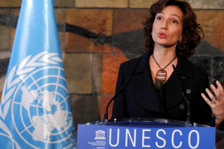 UNESCO Director-General Audrey Azoulay expressed regret over Israel's decision to end its membership [Philippe Wojazer/Reuters]