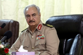 Haftar reportedly slipped into a coma after suffering a stroke, but a spokesman denies the claims and says he's well [Esam Omran Al-Fetori/Reuters]