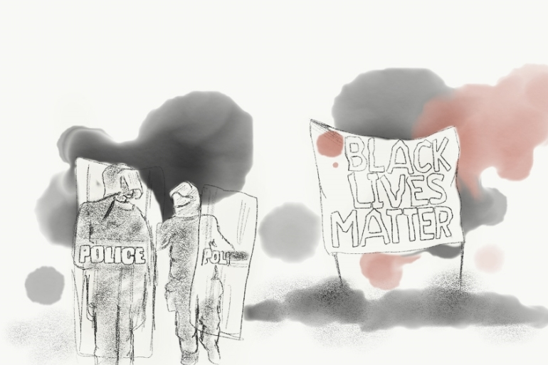 The number of people killed by police in the US increased slightly to 1,188 in 2017 [Illustration by Jawahir Hassan Al-Naimi]