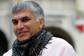 Rights activist Nabeel Rajab was jailed last July after making critical comments about the government [Hamad Mohammed/Reuters]