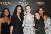 Aja Naomi King, Andie MacDowell, Elle Fanning, Eva Longoria and Liya Kebede attend the L'Oreal Women of Worth Awards  on December 6, 2017 in New York [Evan Agostini/Invision/AP]