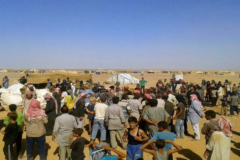 The makeshift Rukban camp is home to at least 55,000 Syria refugees [File: The Associated Press]