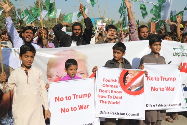 Supporters of Difa-e-Pakistan Council chant slogans during a protest against US President Donald Trump's statement against Pakistan in Karachi on January 2 [Anadolu]