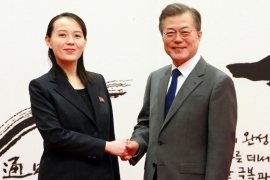 South Korean President Moon Jae-in shakes hands with Kim Yo Jong, the sister of North Korea's leader Kim Jong Un, in Seoul [KCNA/Reuters]