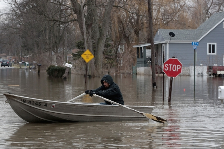 A flooded neighbourhood in Lake Station, Indiana, US [Scott Olson/Getty Images/AFP]
