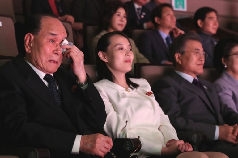 North Korea's Kim Young-nam wipes his tears as he watched North Korea's Samjiyon Orchestra's performance [Reuters]