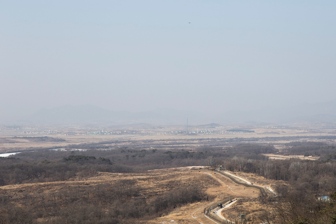 The Observatory offers a view into North Korea, including the Propaganda Village as well as the 160m high flagpole that North erected. The use of speakers blaring out praise of Kim Jong-un and encouraging South Koreans to defect into the North is audible from the Observatory. [Faras Ghani/Al Jazeera]