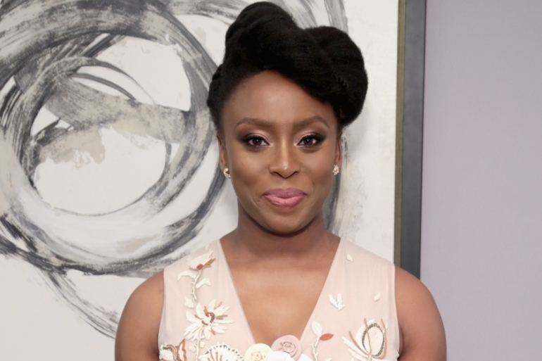 Chimamanda Ngozi Adichie poses backstage at Glamour's 2017 Women of The Year Awards on November 13, 2017 in New York [File photo: Cindy Ord/Getty Images]