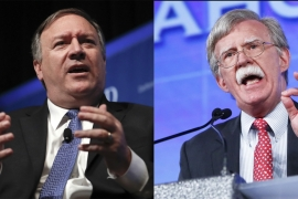 "Critics have likened the appointment of Pompeo [L] and Bolton to Trump assembling a ""war cabinet"" [File: AP]"
