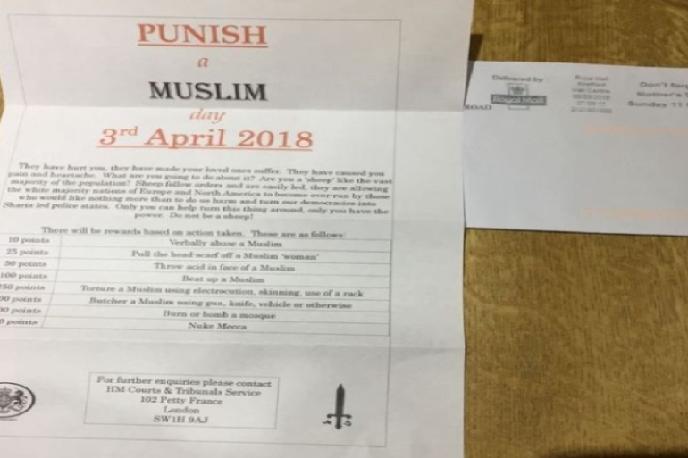 The leaflet calls on people to violently attack Muslims [Twitter]