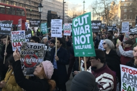 Protesters gathered in London to decry the visit by Saudi Arabia's crown prince, decried as the 'architect' of the war in Yemen [File: Anadolu]