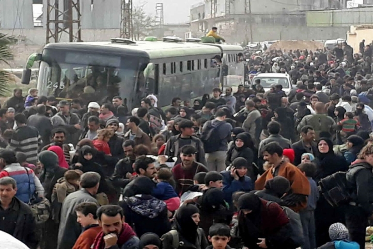 The Syrian Arab Red Crescent said it is responding to the needs of more than 25,000 people who fled Eastern Ghouta [SANA via AP]