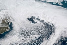 A huge storm covered most of the northwestern Atlantic, bringing heavy snow and near-hurricane force winds to eastern Massachusetts [NOAA/Nasa]