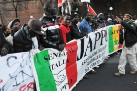 File: This photo shows a demonstration in December 2011, with protesters decrying the killing of Senegalese migrants in Florence [File photo- Laura Lezza/Getty Images]