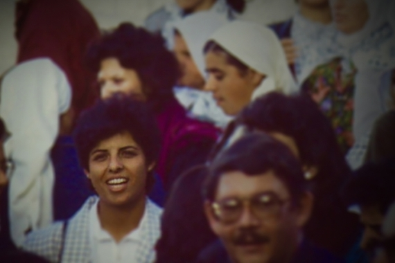 Naila Ayyash (left) at a demonstration during the First Intifada in the late 1980s [Luisa Morgantini/Just Vision]