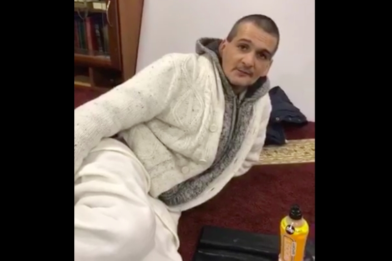 Jamie was among several homeless people who slept in a mosque in the UK as the weather froze [Courtesy: Makki Masjid]