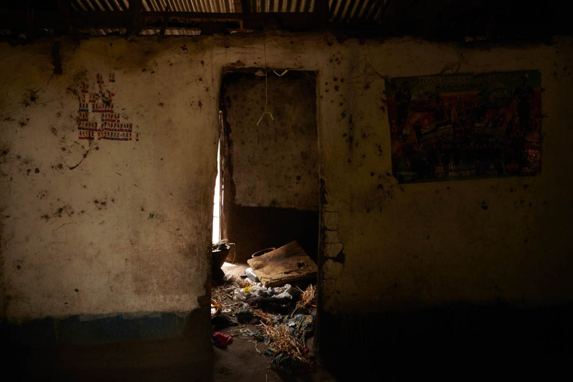 The interior of a Hema home is left ravaged in the village of Kafe, Ituri after a recent raid carried out by Lendu fighters. [Alex Mcbride Wilson/Al Jazeera]