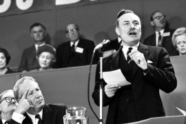 Enoch Powell addresses delegates during the session of the annual Conservative Party Conference at the Top Rank Centre in Brighton, England on October 19, 1967 [File photo: AP]