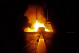 A picture released by the French military shows the launching of a cruise missile from a French military vessel in the Mediterranean sea towards targets in Syria overnight April 13 to 14, 2018 [AFP]