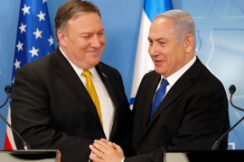 US Secretary of State Mike Pompeo, left, is greeted by Israeli Prime Minister Benjamin Netanyahu ahead of a news conference at the Ministry of Defence in Tel Aviv, on April 29, 2018. Pompeo arrived in Israel from Saudi Arabia as part of his Middle East tour that will also take him to Jordan [Thomas Coex/EPA]