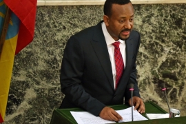 Ethiopia's new Prime Minister Abiy Ahmed delivers his acceptance speech after taking his oath of office during a ceremony in Addis Ababa, Ethiopia April 2, 2018 [Tiksa Negeri/Reuters]