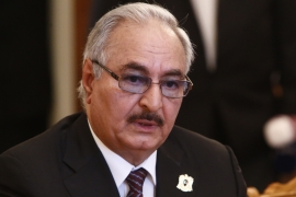 General Khalifa Haftar, commander of the Libyan National Army (LNA), attends a meeting with Russian Foreign Minister Sergey Lavrov in Moscow, Russia on August 14, 2017 [Reuters/Sergei Karpukhin]