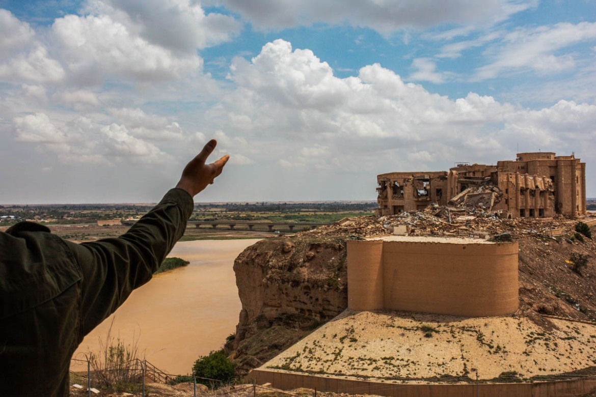 One of Saddam Hussein's castles in Tikrit that was destroyed after the US invasion. Next to this place, some 1935 cadets were killed by ISIL on June 12, 2014. The incident is known as the Camp Speicher or Tikrit massacre. [Alessio Mamo/Al Jazeera]