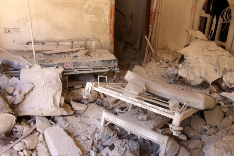 A damaged field hospital room is seen after air strikes in a rebel-held area in Aleppo, Syria October 1, 2016 [Abdalrahman Ismail/Reuters]