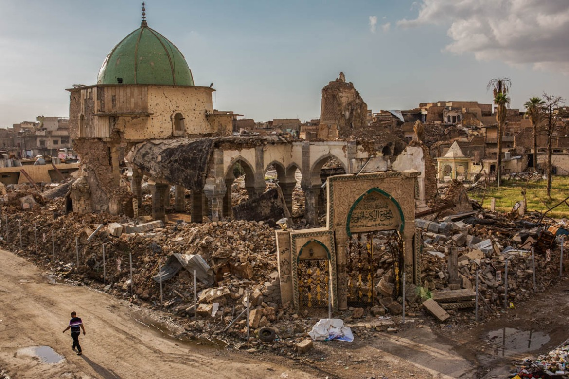 Al-Nuri Mosque in the Old City of Mosul was blown up by ISIL in June 2017 during the final phase of the battle in the city. In this mosque in June 2014, Abu Bakr al-Baghdadi proclaimed a self-styled caliphate, the Islamic State or ISIL. [Alessio Mamo/Al Jazeera]
