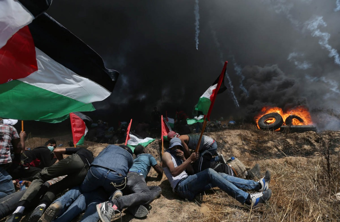 The protest comes ahead of annual commemorations of the Nakba, or 'catastrophe', when the state of Israel was established on May 15, 1948. The event led to the expulsion of hundreds of thousands of Palestinians from their villages and towns. [Ibraheem Abu Mustafa/Reuters]