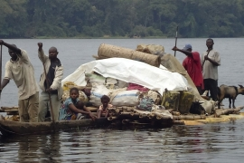 Travel by boat is one of the most commonly used methods of transport in DRC, with the vast country's thousands of kilometres of waterways linking areas that are otherwise unconnected by roads [File: EPA]