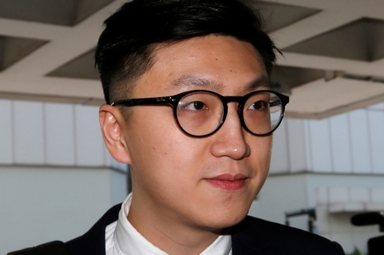 Edward Leung had earlier been found guilty of rioting in a 2016 overnight protest that turned violent [Bobby Yip/Reuters]