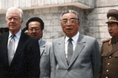 Former US President Jimmy Carter meets North Korea leader Kim Il-sung on June 17, 1994 during what the Clinton administration called a 'private trip' to Pyongyang [File photo: AP]