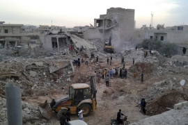 Air raids killed at least 44 people last week in the village of Zardana, in rural Idlib province [Syrian Civil Defence White Helmets/The Associated Press]