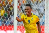 Arsenal's French born striker Pierre-Emerick Aubameyang celebrates scoring a goal for Gabon against Guinea-Bissau at the African Cup of Nations [Reuters]
