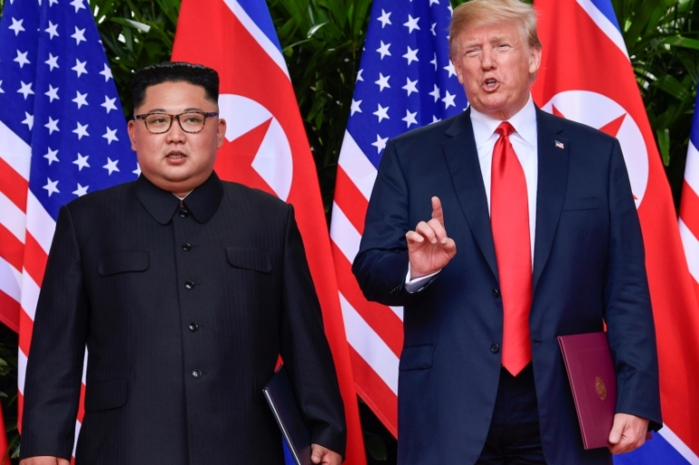 US President Donald Trump and North Korean leader Kim Jong-un met in Singapore after months of tensions [Reuters]