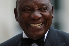 South Africa's President Cyril Ramaphosa reacts as he arrives to attend the Commonwealth Business Forum Banquet at the Guildhall in London, Britain on April 17, 2018 [Simon Dawson/Reuters]