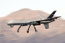 An MQ-9 Reaper remotely piloted aircraft [File: Isaac Brekken/Getty Images]