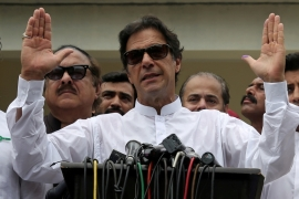Cricket star-turned-politician Imran Khan, chairman of Pakistan Tehreek-e-Insaf (PTI), speaks to the media after casting his vote in Islamabad, Pakistan, July 25, 2018. [Reuters/Athit Perawongmetha]