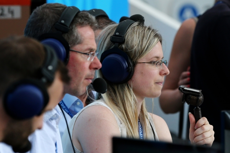 BBC's Vicki Sparks became the first woman for UK television to commentate at this year's World Cup [Maddie Meyer/Getty Images]