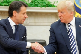 US President Donald Trump meets with Italian Prime Minister Giuseppe Conte in the Oval Office at the White House in Washington, US, July 30, 2018 [Brian Snyder/Reuters]