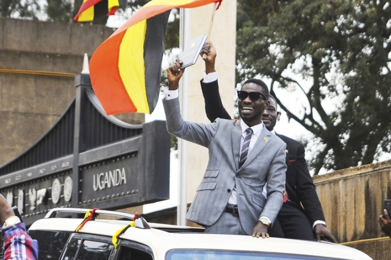 Robert Kyagulanyi has used his music to address political and social issues [File:Ronald Kabuubi/AP]