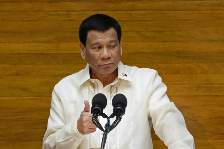 President Rodrigo Duterte delivers his State of the Nation address at the House of Representatives in Quezon City, Metro Manila, Philippines on July 23, 2018 [Czar Dancel/Reuters]