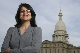 Rashida Tlaib is set to become the first Muslim woman elected to Congress after comfortably winning her Democratic primary election in the US state of Michigan [AP]