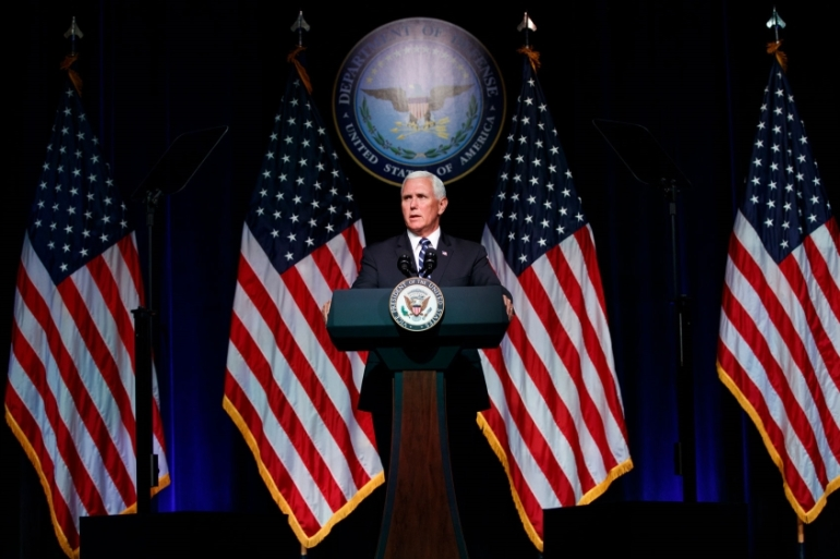US Vice President Mike Pence officially announced the creation of the Space Force during an address at the Pentagon [Evan Vucci/The Associated Press]