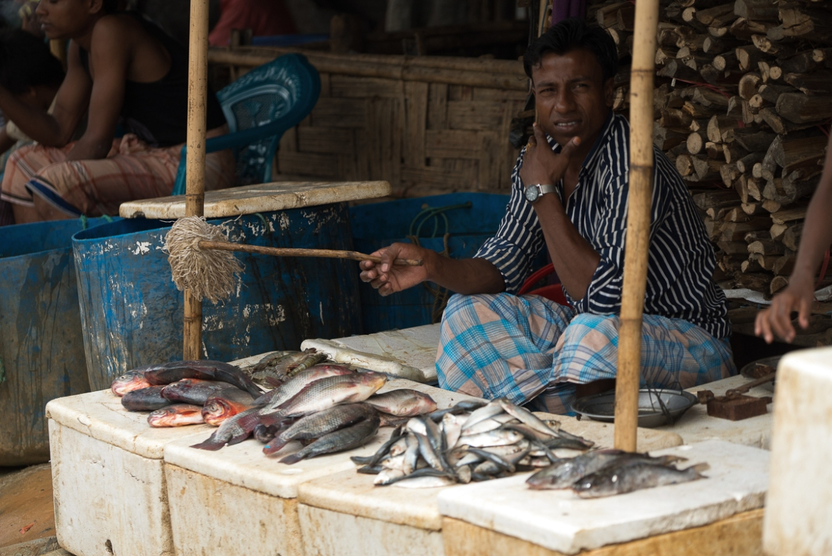 A Rohingya man sells fish in a market in Kutupalong refugee camp. [Sorin Furcoi/Al Jazeera]