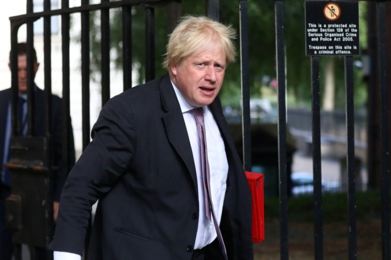 Johnson resigned last month as foreign secretary [File: Simon Dawson/Reuters]