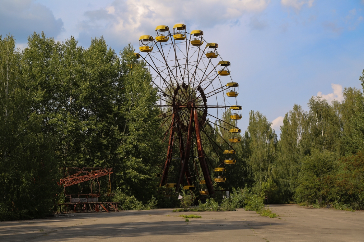 An amusement park in Pripyat was scheduled to open to the public during the May Day celebrations only days after the nuclear disaster. It was never used. [Blake Sifton/Al Jazeera]