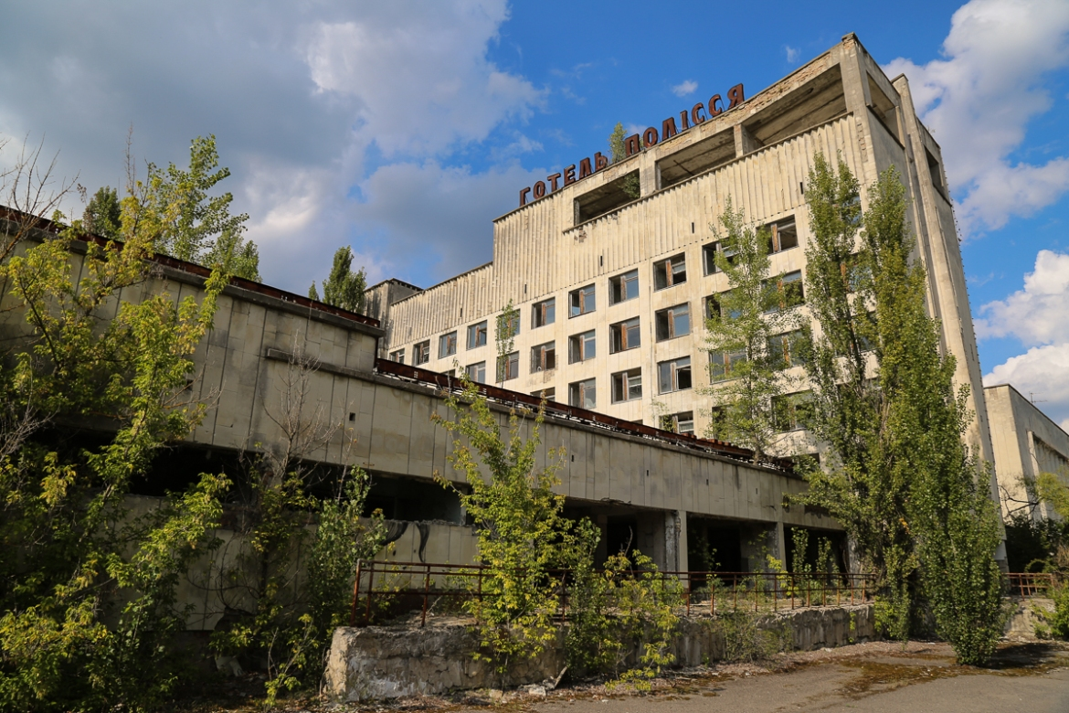 An abandoned hotel in the city of Pripyat near the nuclear power plant. The city's 50,000 residents were not initially made aware of the disaster and the evacuation did not begin until more than 24 hours after the explosion. [Blake Sifton/Al Jazeera]
